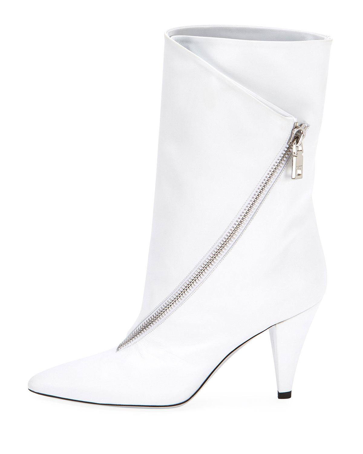 1bdca8019e7a Lyst - Givenchy Show Asymmetric-zip 80mm Boots in White