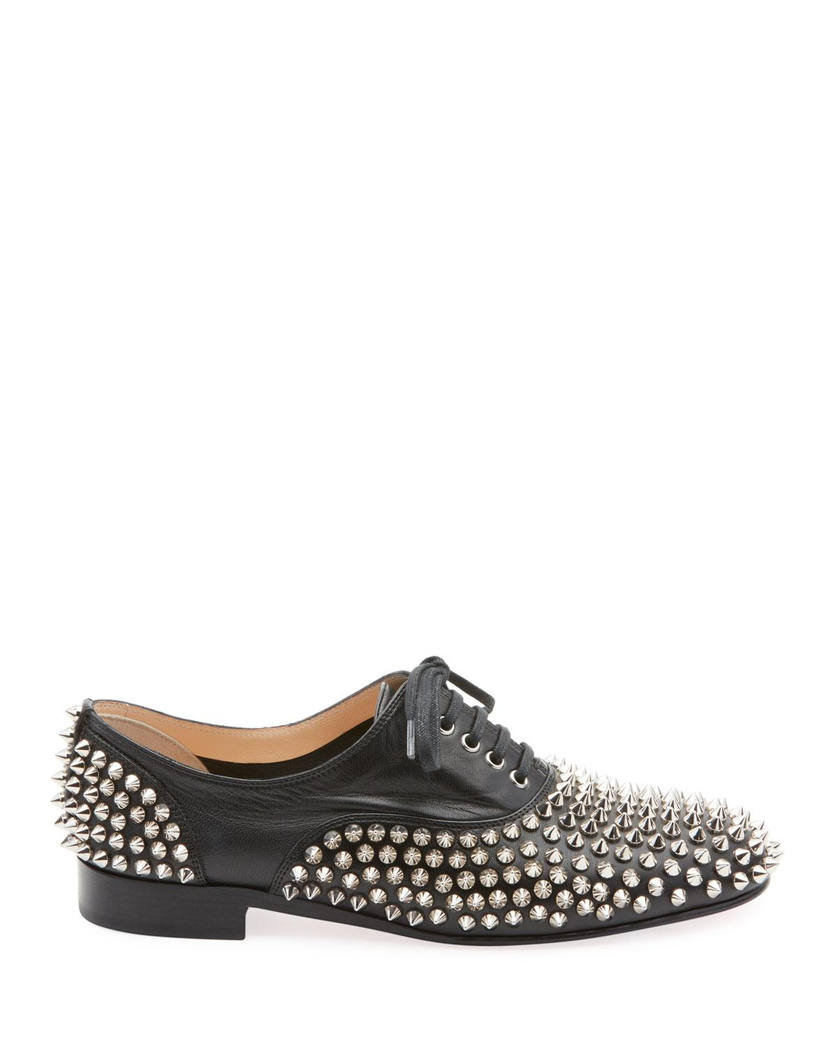 f7873f3b98b Christian Louboutin. Women s Black Freddy Spikes Red Sole Saddle Oxford  Shoes