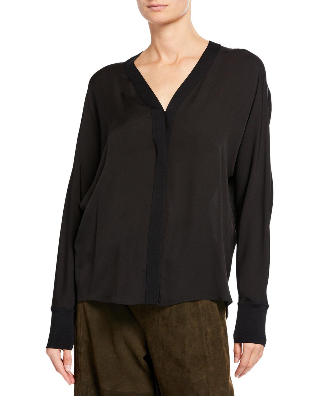 5f34814577572 Lyst - Vince Rib-trim Silk V-neck Shirt in Black