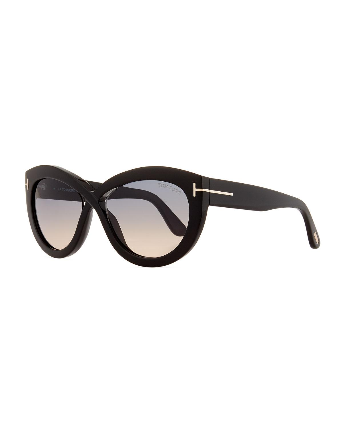 1810917dda9f Lyst - Tom Ford Diane Acetate Butterfly Sunglasses in Black
