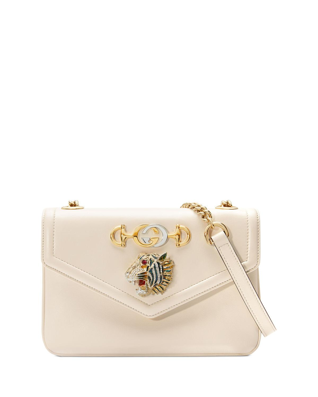 3e59fa9f823 Lyst - Gucci Linea Rajah Medium Leather Shoulder Bag in White