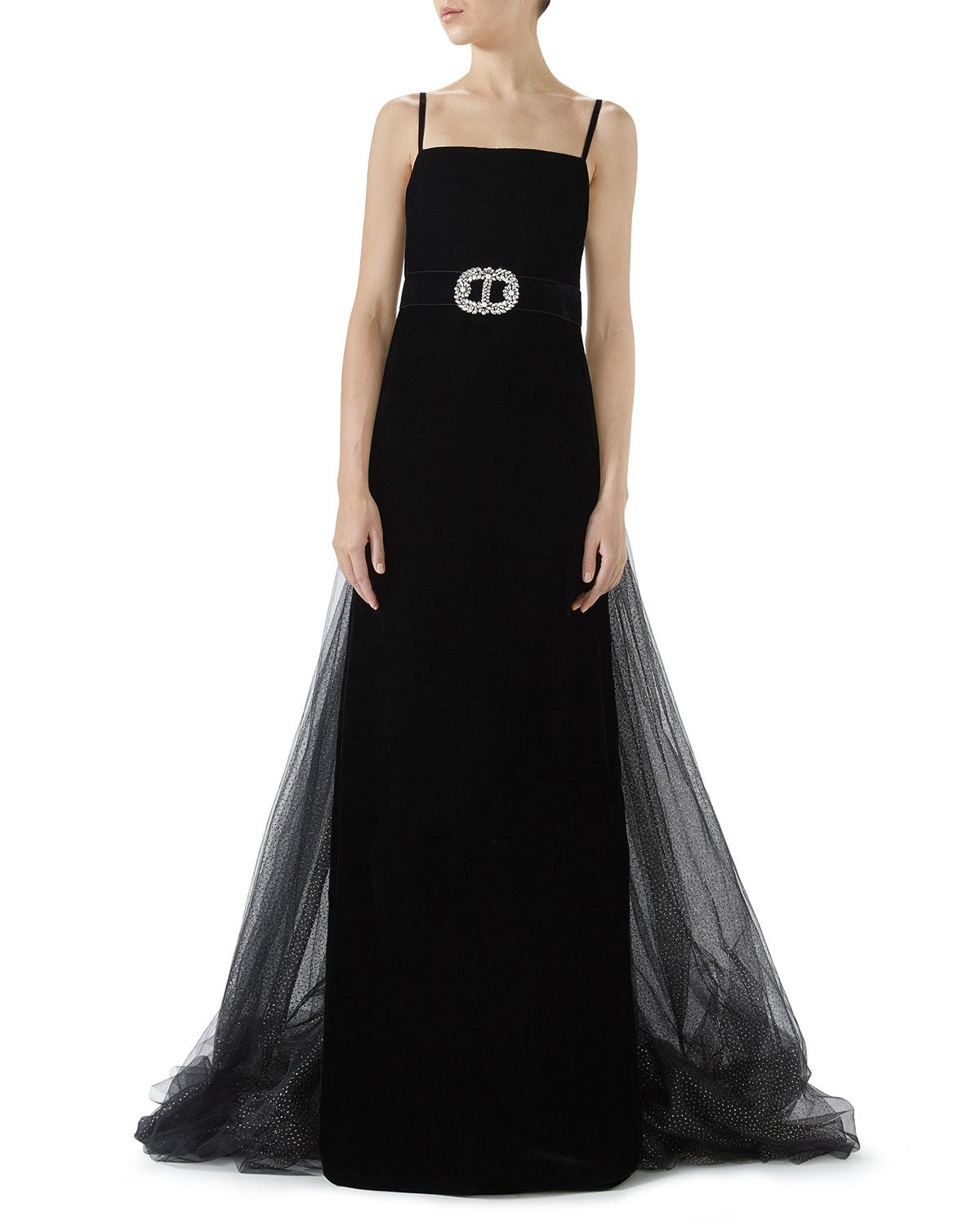 Lyst - Gucci Embroidered Velvet & Organza Evening Gown in Black
