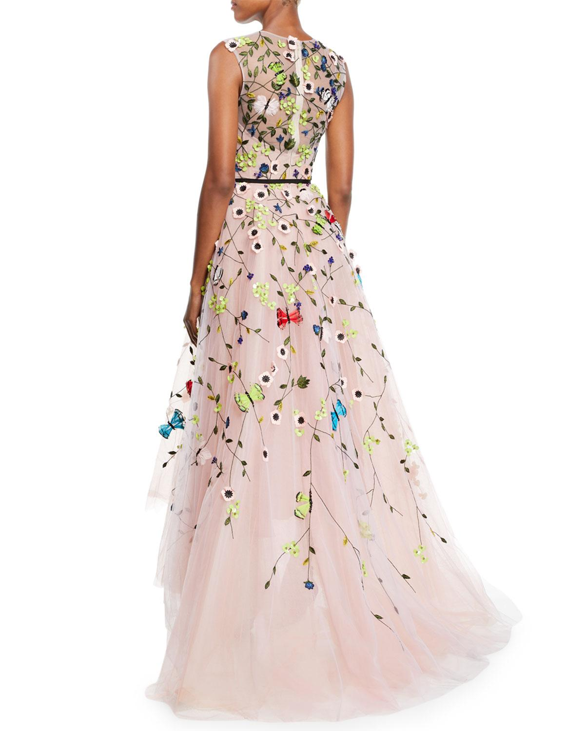 6f20fe3423 Lyst - Monique Lhuillier Jewel-neck Sleeveless Floral-embroidered Tulle  A-line Evening Gown in Pink