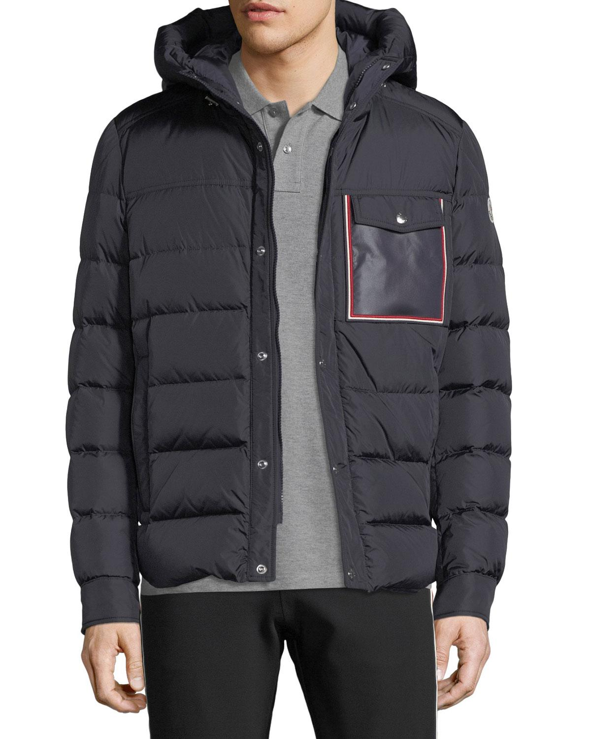 8bee02d9a Lyst - Moncler Men s Prevot Hooded Puffer Jacket With Pocket in Blue ...