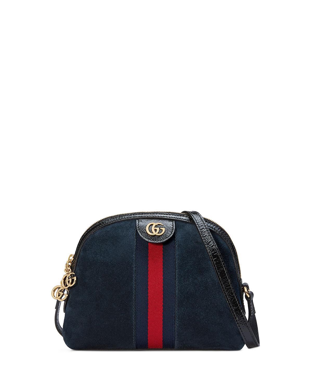 ac501f65b89 Gucci Linea Dragoni Suede Small Chain Shoulder Bag in Black - Lyst