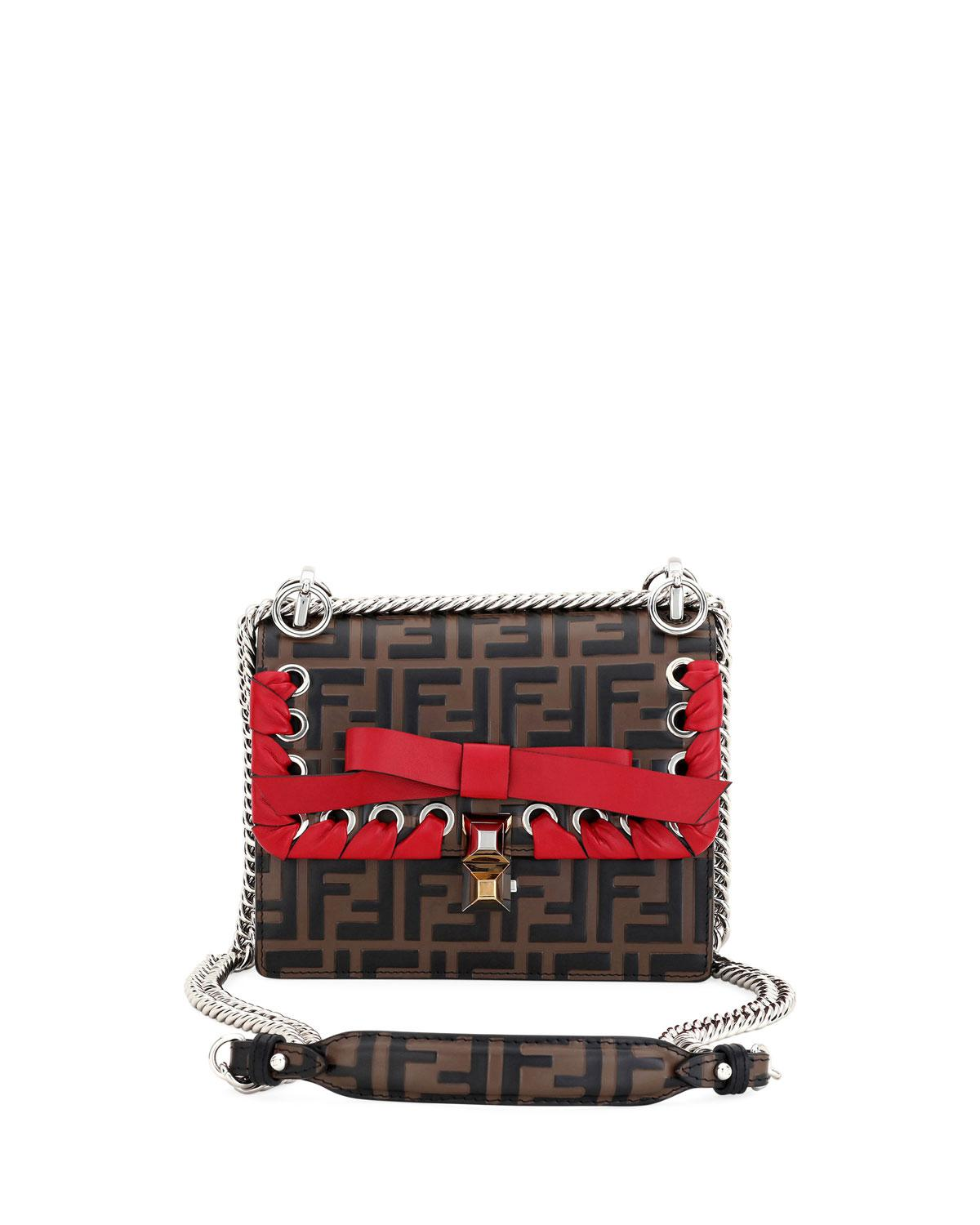 ae686371334d Fendi Kan I Small Ff Embossed Shoulder Bag With Ribbon in Red - Lyst