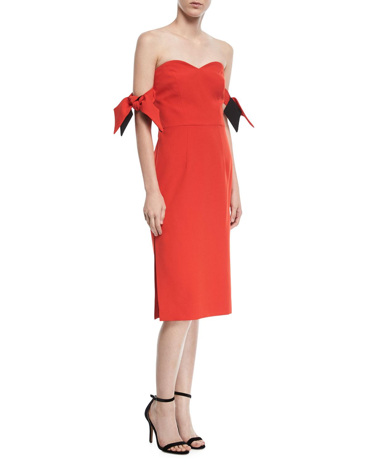 845a7b52665 Lyst - MILLY Brie Off-shoulder Italian Cady Cocktaildress in Red