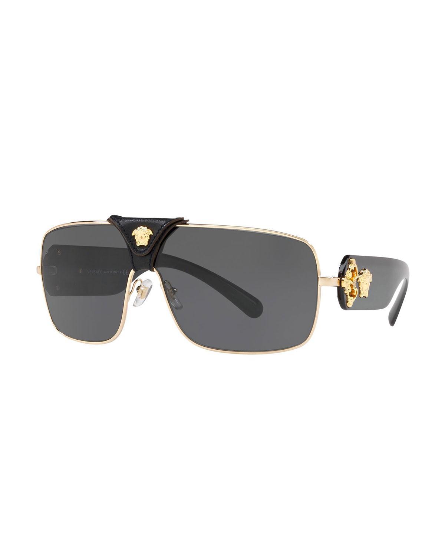 f3c0e1e837a2 Lyst - Versace Medusa Leather-wrap Square Sunglasses in Black