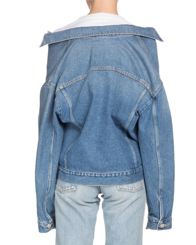 6ffa48ae5cb194 Lyst - Balenciaga Button-down Swing Denim Jacket in Blue