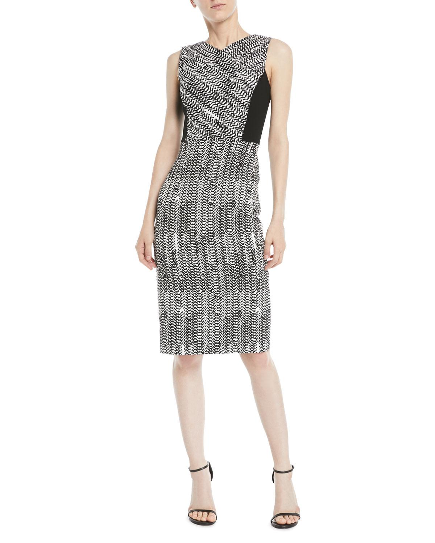 5c4e2eb5 Jason Wu. Women's Black Sleeveless Herringbone-jacquard Sheath Cocktail  Dress