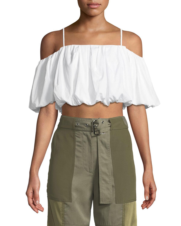 a5b9e1fe35085 Lyst - 3.1 Phillip Lim Off-the-shoulder Short-sleeve Cotton Crop Top ...