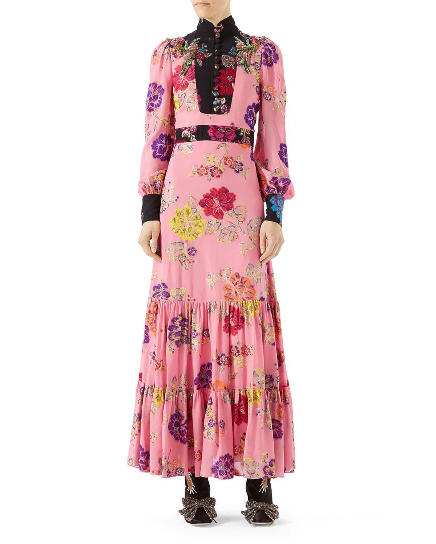 e5e6ab4f7 Gucci Garden-print Crepe Dress in Pink - Lyst
