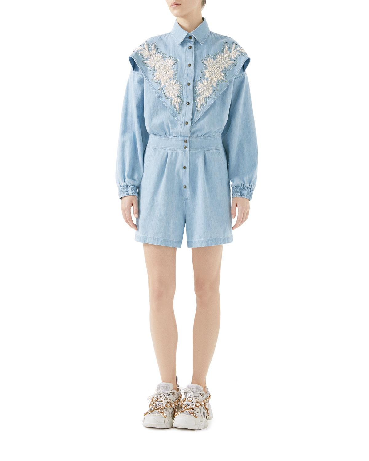 962adc489344 Lyst - Gucci Denim Jumpsuit With Ny Yankeestm Patch Light Blue in Blue