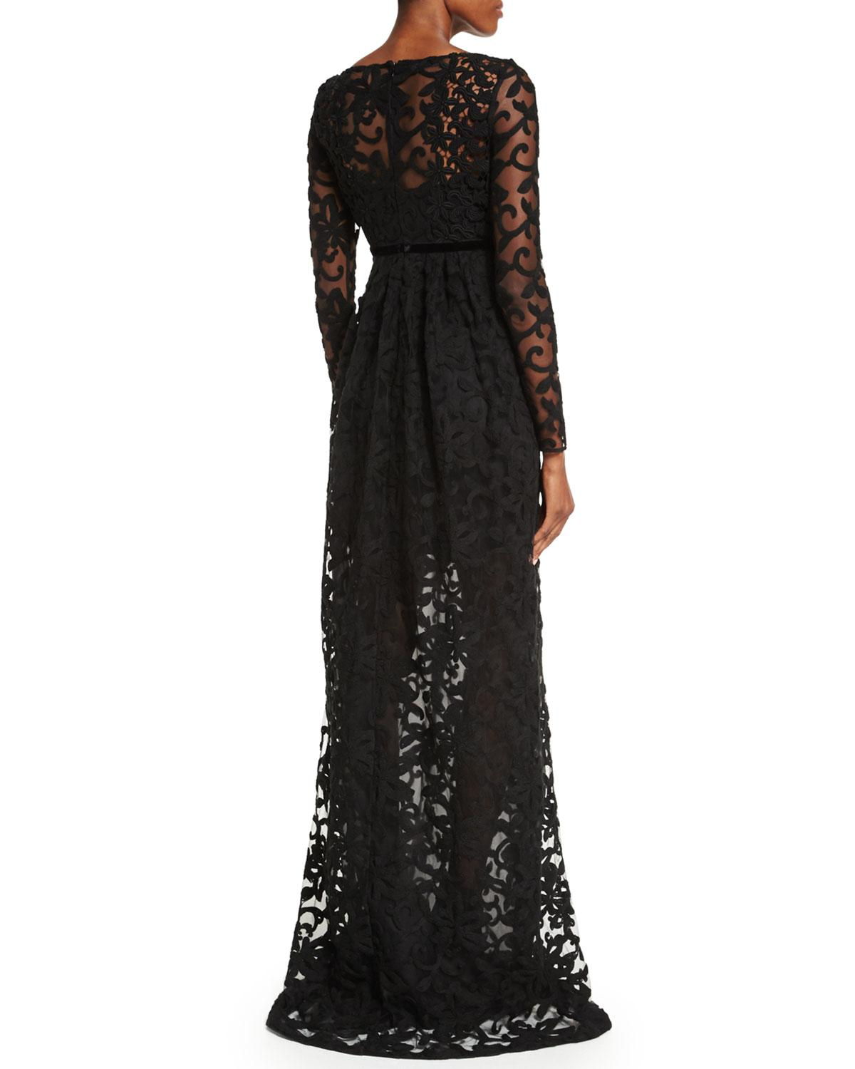 2cccec6fd4 Lyst - Burberry Long-sleeve Macrame Gown in Black