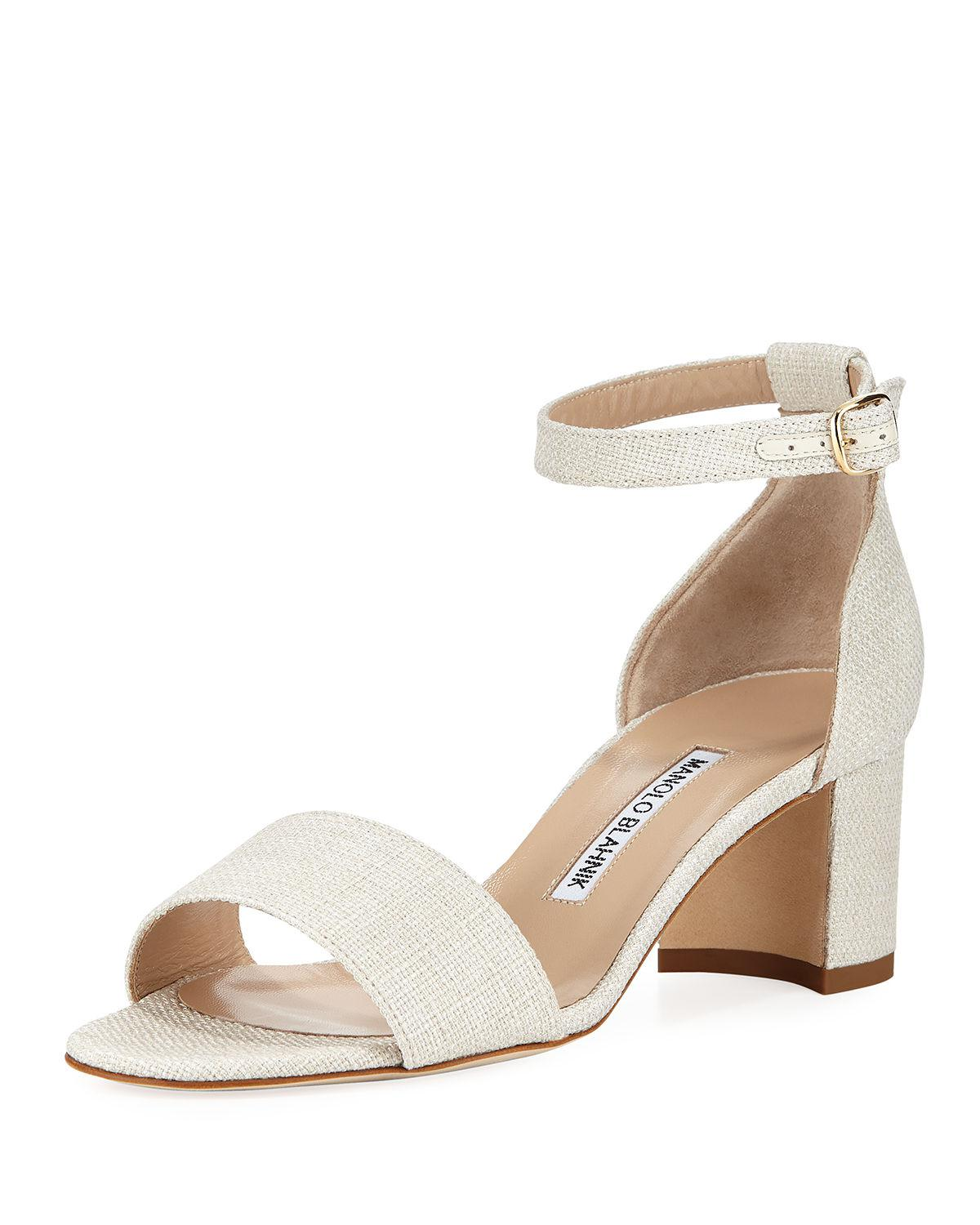 a5352bab14176 Manolo Blahnik Laura Tomod Linen Ankle Sandal in Natural - Lyst