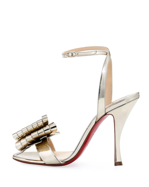 6b8c3b05a4c Lyst - Christian Louboutin Miss Valois Metallic Red Sole Sandal in Metallic