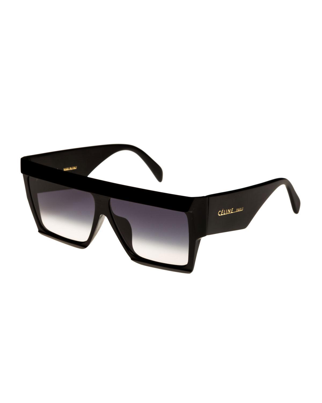 ce9da6c588d Céline Bold Angular Acetate Sunglasses in Black - Lyst