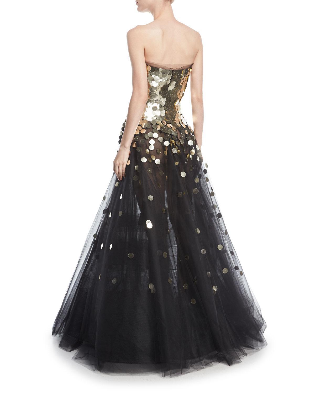 Lyst - Oscar De La Renta Strapless Sequined Tulle Ball Gown in Black