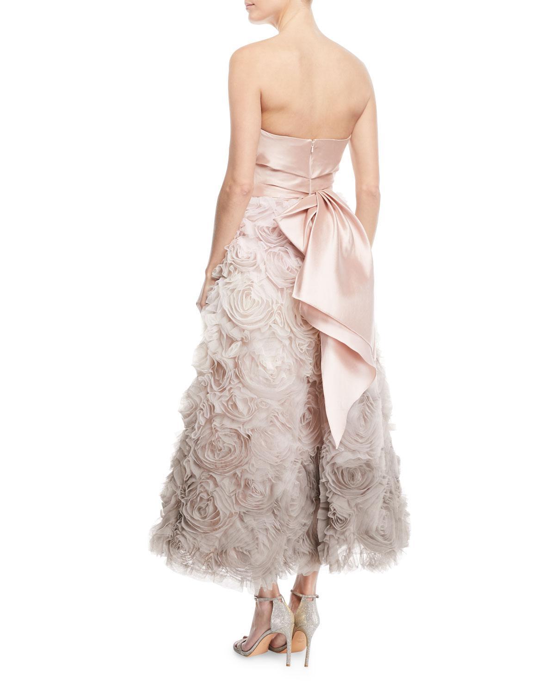 b11a1b0bdec6 Lyst - Marchesa notte Ombré Textured Tea Dress W/ Draped Bodice in Black