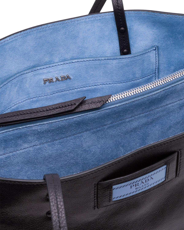 90405f887e9e Prada - Black Small Glace Calf Etiquette Shopper - Lyst. View fullscreen