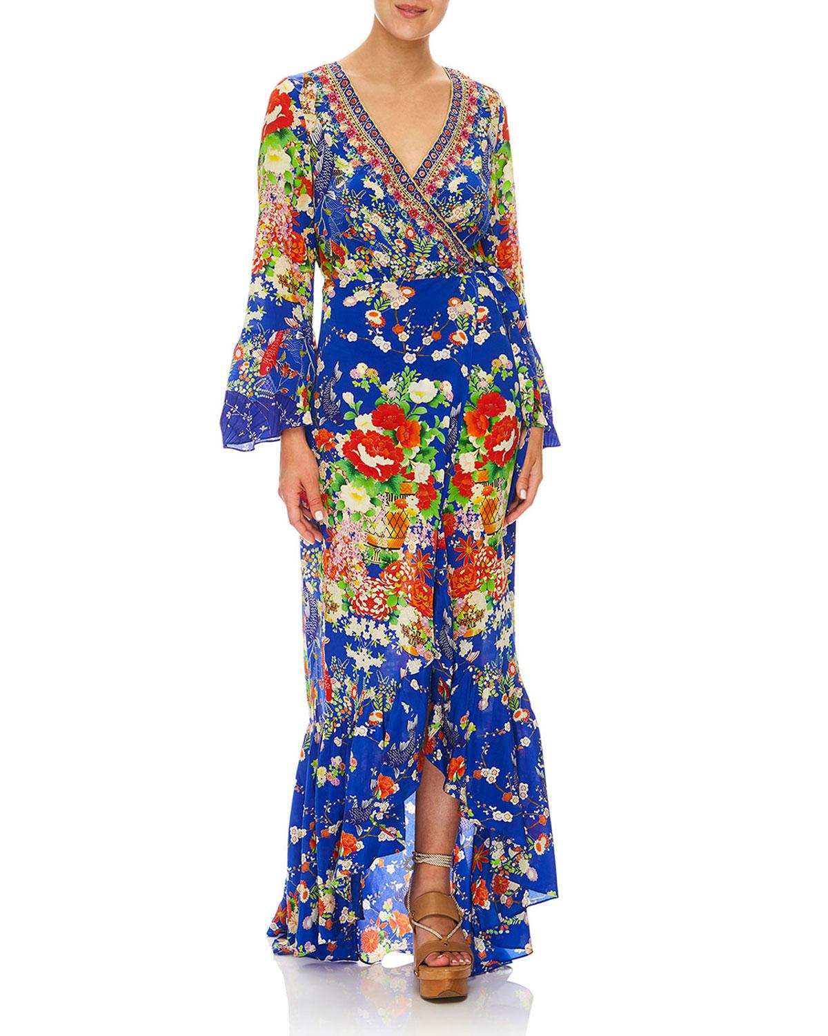 84a81f11fe Lyst - Camilla Playing Koi Bell-sleeve Printed Wrap Maxi Dress in Blue
