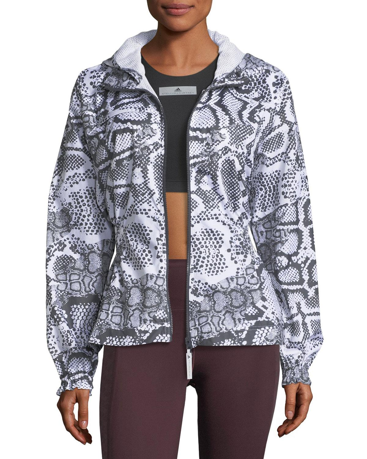 the best attitude a15b9 0fd31 Adidas by stella mccartney Run Zip-front Printed Performance Jacket in  White   Lyst