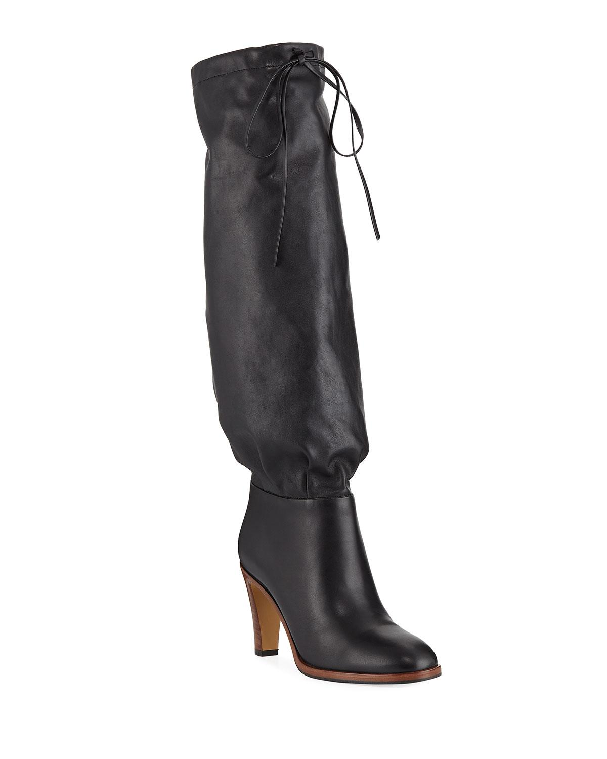 a822cff6ebca Lyst - Gucci Leather Self-tie Knee Boots in Black