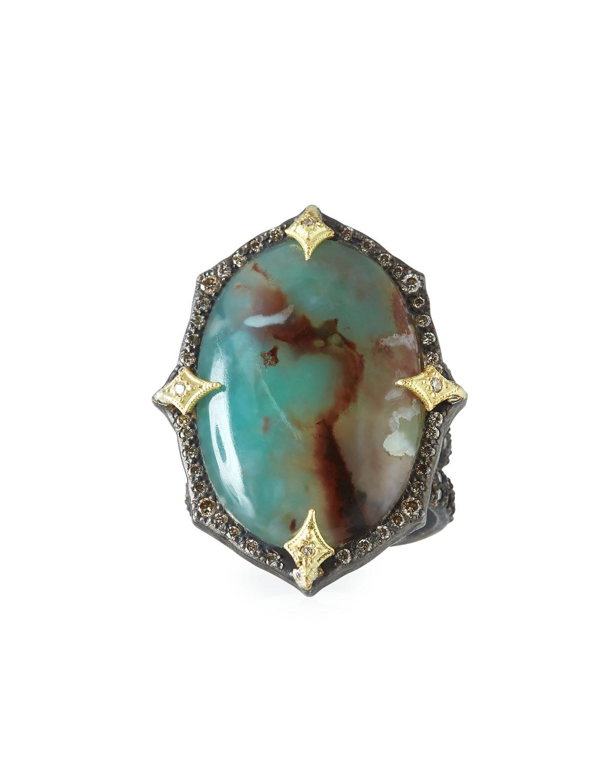 Armenta 18k Old World Aquaprase & Diamond Ring TS5qB