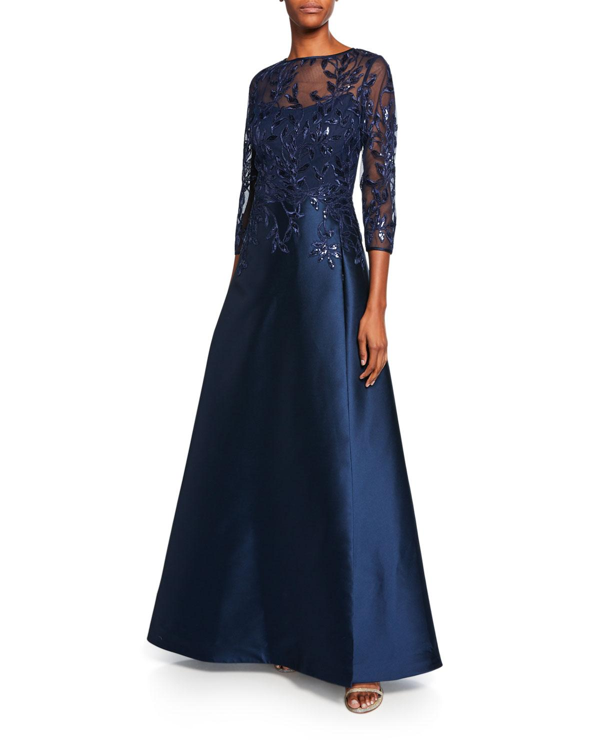 2ae77ff7094a Teri Jon. Women s Blue High-neck 3 4-sleeve Gazar Gown With Sequin  Embellished Bodice