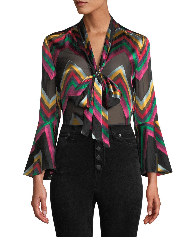 eee94c5c016d3 Lyst - Alice + Olivia Merideth Slit-sleeve Tie-neck Top in Black ...