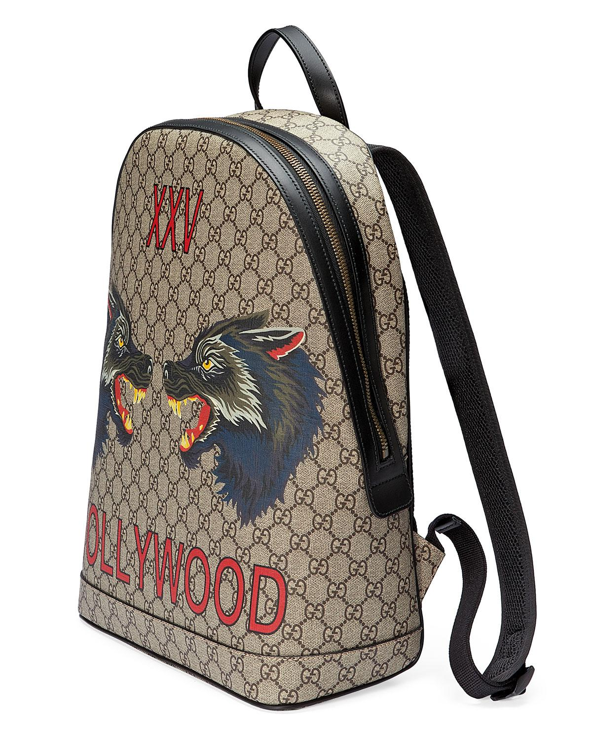 2673275348b Lyst - Gucci Xxv Wolf-print Gg Supreme Backpack in Natural