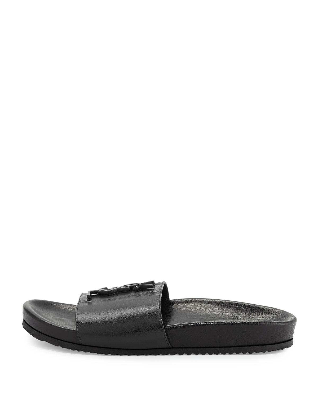 fa38b6e72 Lyst - Saint Laurent Joan Ysl Brooch Sport Slide Sandals in Black ...