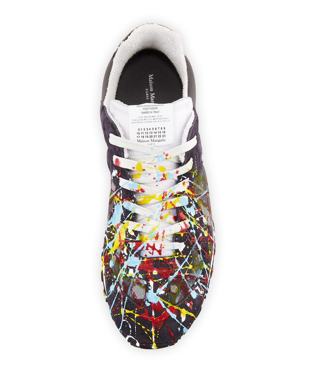 61beca19aeba Lyst - Maison Margiela Men s Replica Paint-splatter Suede-trim Running  Sneakers for Men