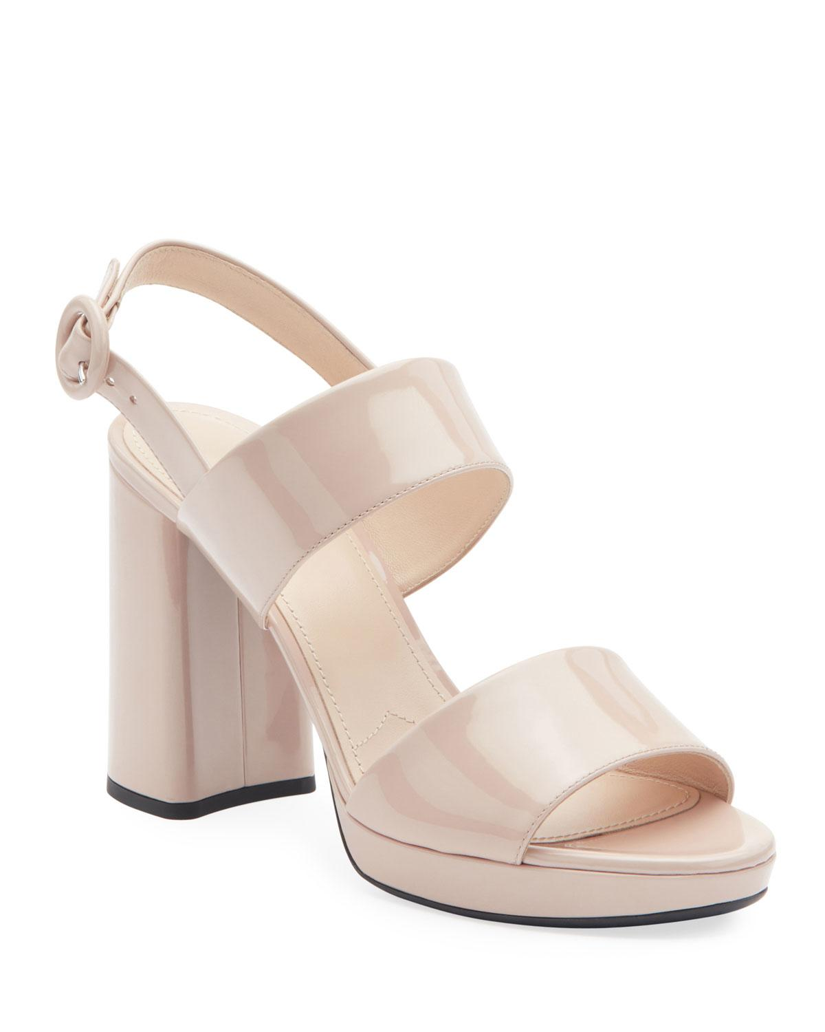 2565f65a0f9 Lyst - Prada Patent Platform Two-band Sandals in Natural