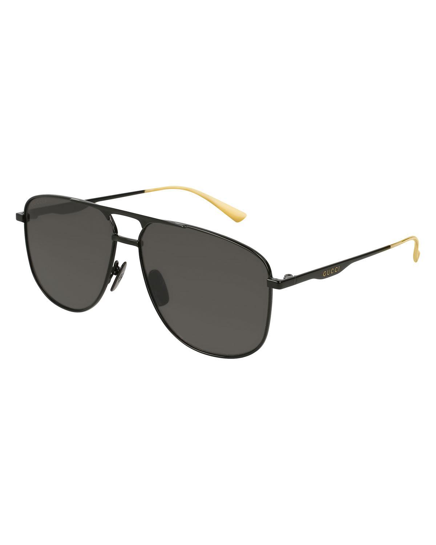 470be7c70 Gucci. Men's Black Square Metal Aviator Sunglasses. $400 From Bergdorf  Goodman