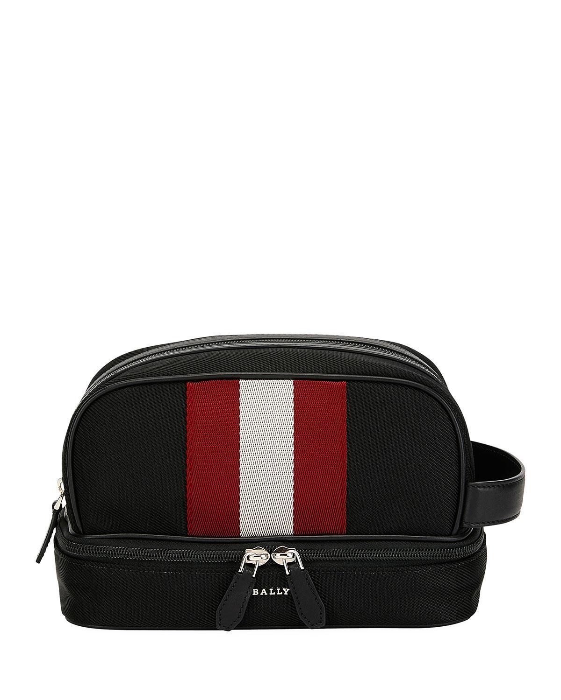 f259e525352 Lyst - Bally Logo Stripe Tech Canvas Toiletry Bag in Black for Men