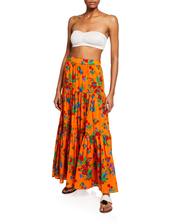 953c1a7eea56 Tory Burch - Orange Floral-print Tiered Coverup Maxi Dress - Lyst. View  fullscreen