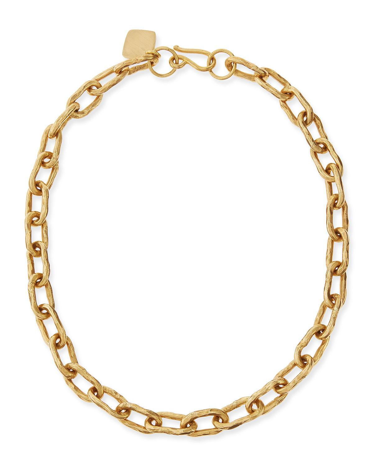 Ashley Pittman Bila Hammered Bronze Link Choker Necklace DuTZW