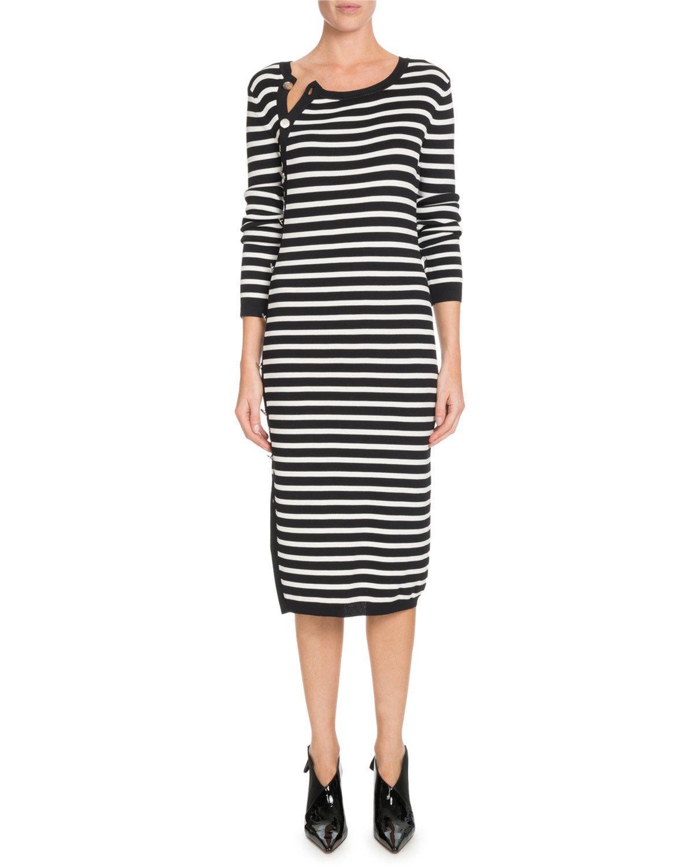 5ceda9965a2 Lyst - Altuzarra Arzel Striped Ribbed Knit Midi Dress in Black