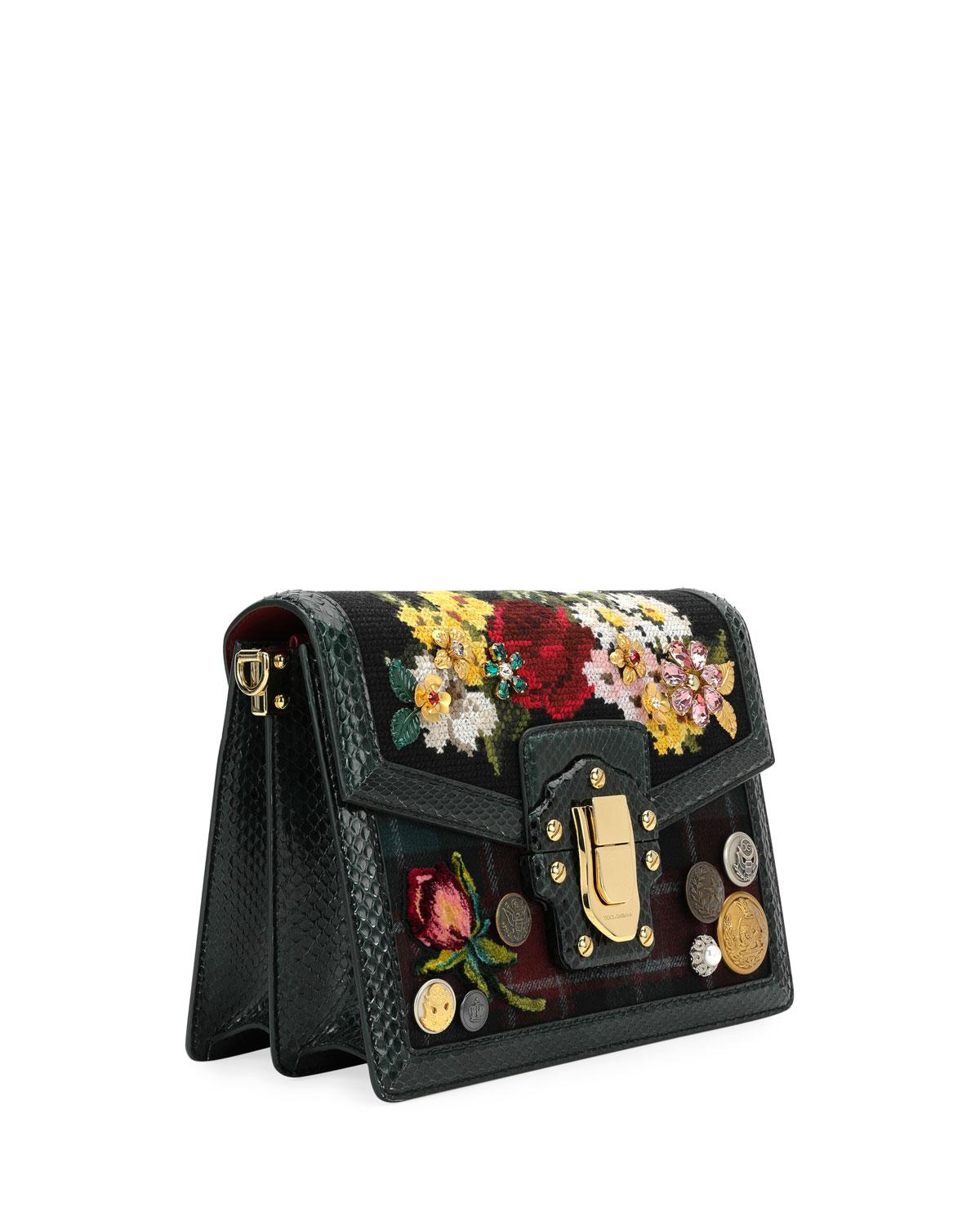 b31061dcaa03 Lyst - Dolce   gabbana Lucia Floral Needlepoint Shoulder Bag in Black