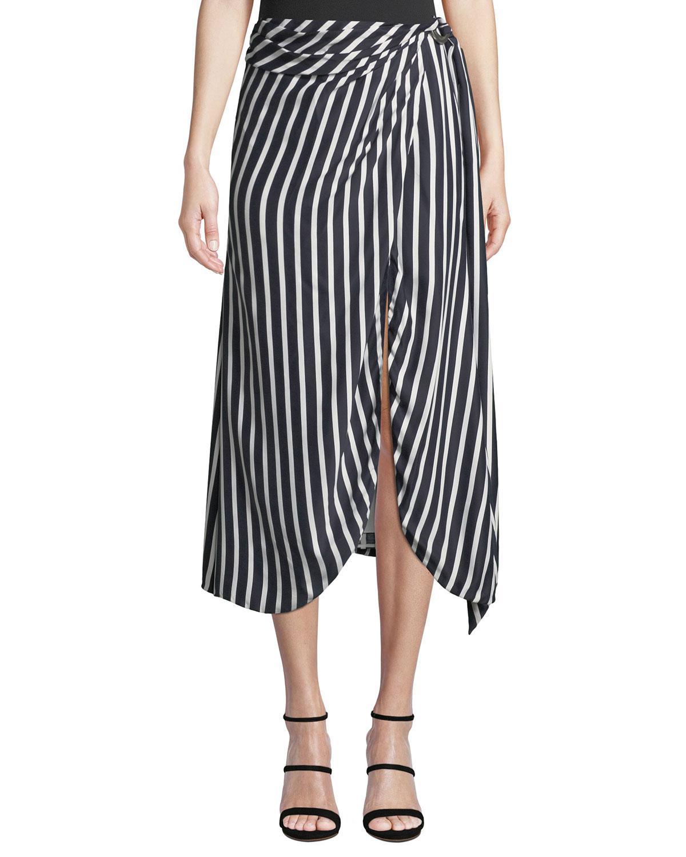 964d7aed23 Lyst - Jonathan Simkhai Multimedia Striped Wrap-front Midi Skirt in ...