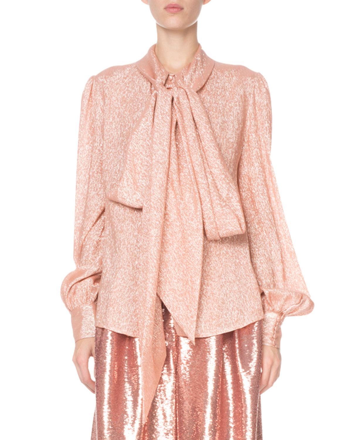 7e61754c570da6 Lyst - Marc Jacobs Shimmer Tie-neck Blouse in Pink