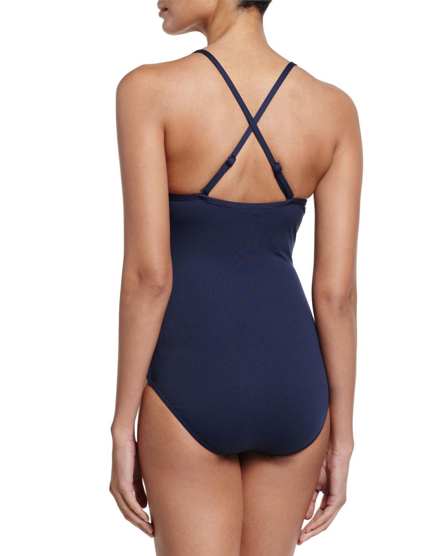 0fe262f4db3 Lyst - Seafolly Goddess Twist Halter One-piece Swimsuit in Blue