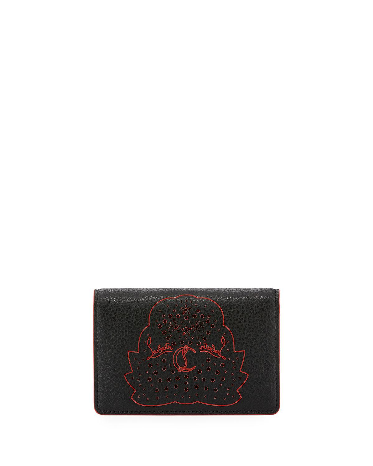 Lyst - Christian Louboutin Loubeka Leather Business Card Holder in Black