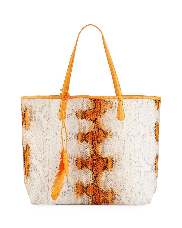 bb033dc95a1b Lyst - Nancy Gonzalez Erica Small New Python Leaf Tote Bag in Orange