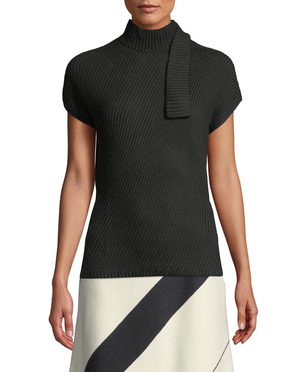 358394df24 Lyst - Narciso Rodriguez Short-sleeve Chunky Rib-knit Wool Top in Black