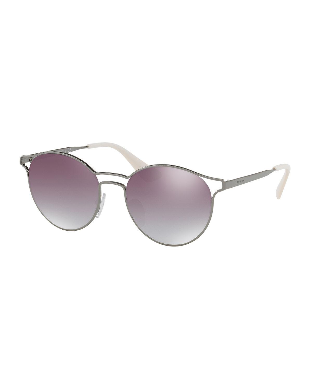 9850b7ae3 Prada Round Metal Open-inset Mirrored Sunglasses - Lyst