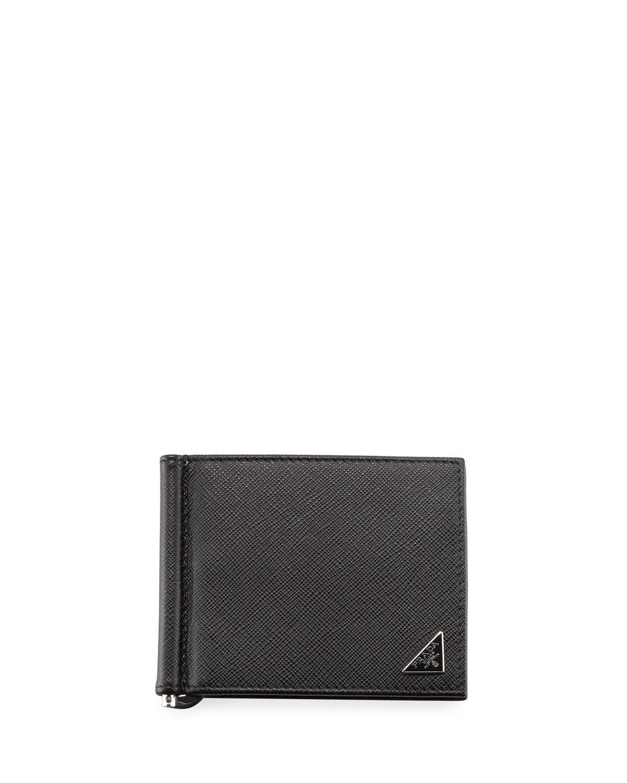 773c503d1157 Prada Saffiano Triangolo Wallet With Money Clip in Black for Men - Lyst