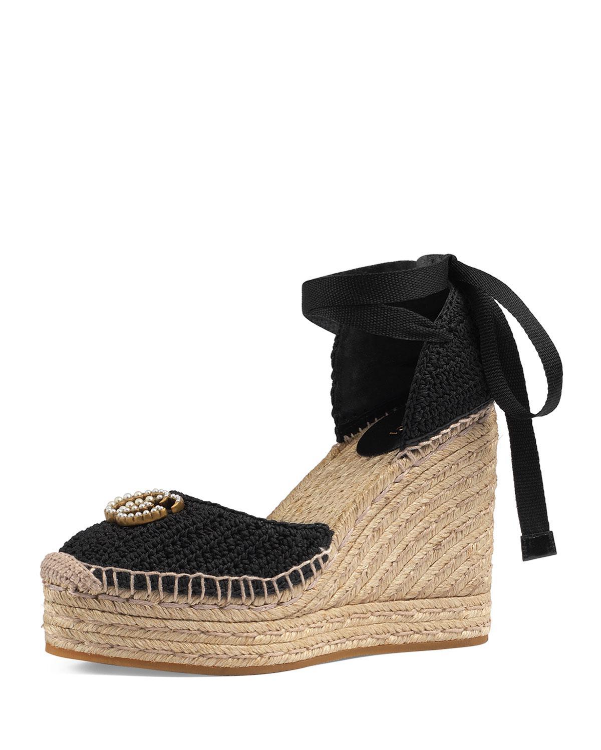 7abfe8f49617 Gucci. Women s Black Lilibeth Logo-embellished Crocheted Cotton Wedge  Espadrilles
