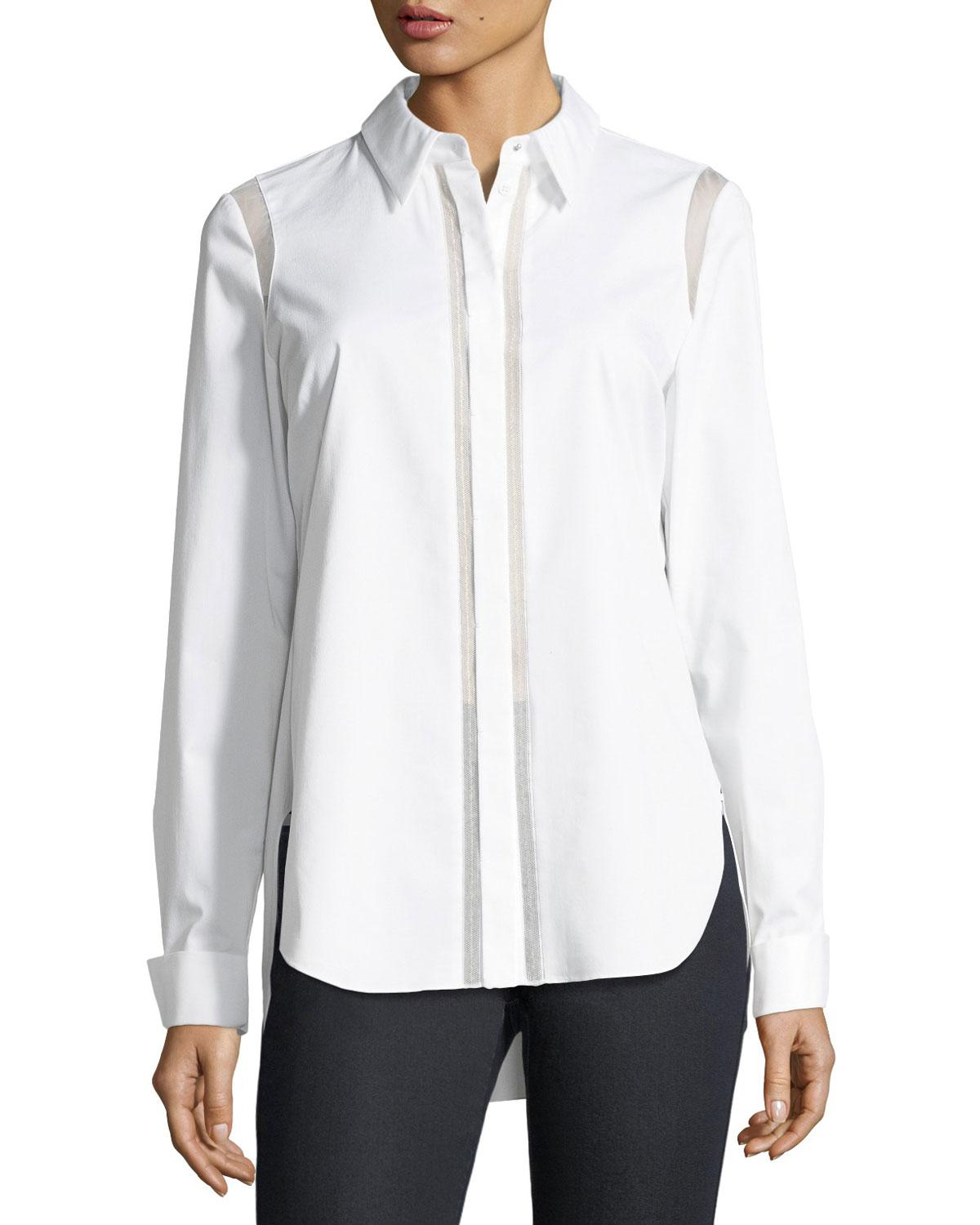 2e616b5c0401 Elie Tahari Silk-trim Top in White - Lyst